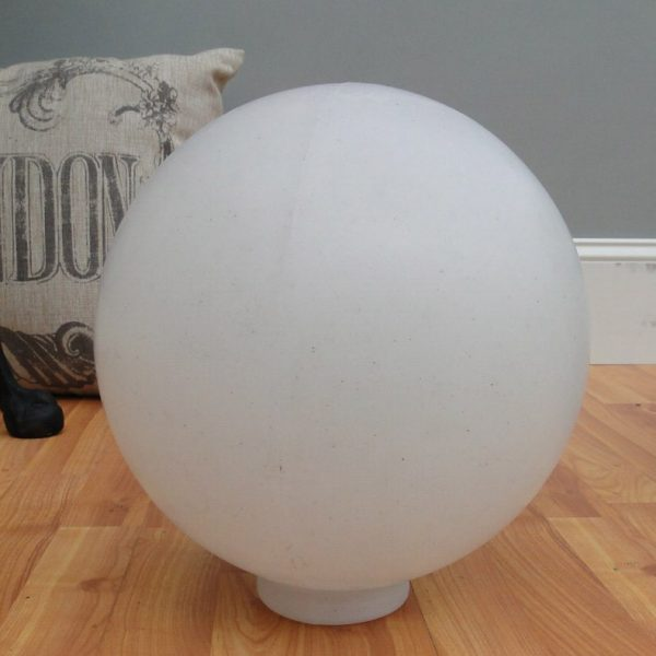 "Big WHITE PLASTIC BALL Outdoor Shade Light Fixture Round 10"" Dia. 4"" Fitter Globe"