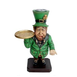 Leprechaun Butler Statue with Ashtray on Head and Cigar in Mouth