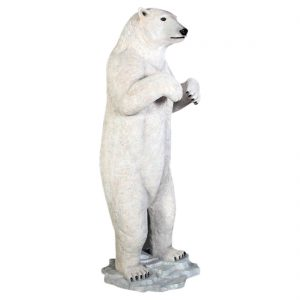 Standing Polar Bear Life Size Statue White Alaska Wilderness Sculpture