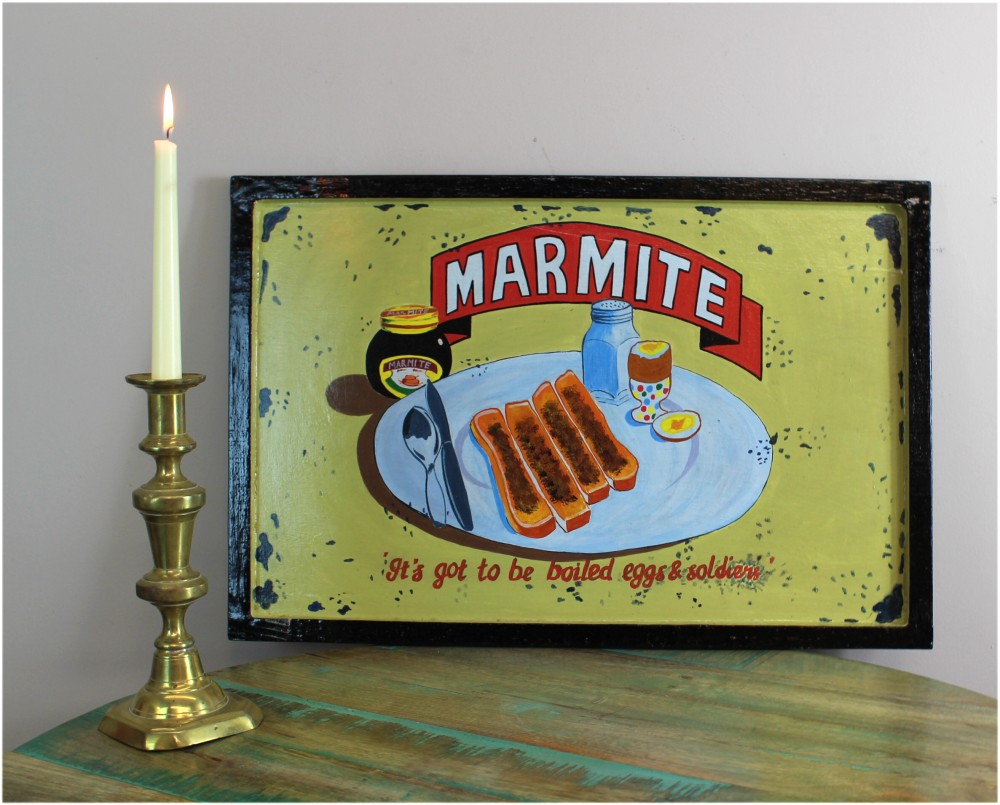 Hand Painted Old Advertising Memorabilia, Replica Wood Wall Art Sign, Marmite