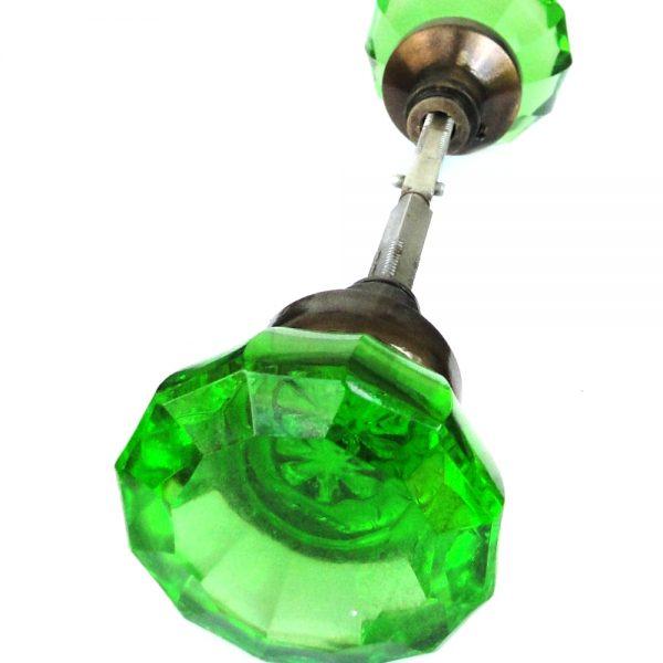 Door Knob GREEN Glass Aged Brass (Pair) Vintage Style New Replica Hardware