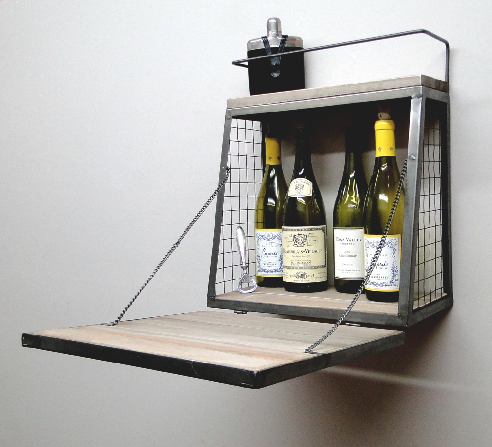 Aged Wood and Metal Wall Mounted Bar w Fold Out Down Shelf 1
