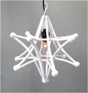 Shooting Star Pendant Light Fixture With Chain and Black Cloth Wire (SMALLER)