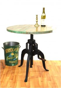 "Iron Crank Vintage Side Table Old Factory Industrial Hand Made Bar 30"" Diameter Wood Top"