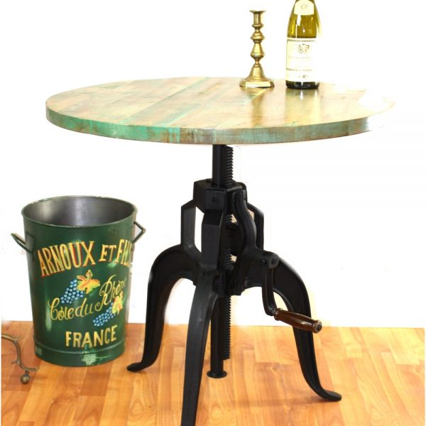 Iron Crank Vintage Side Table Old Factory Industrial Hand Made Bar