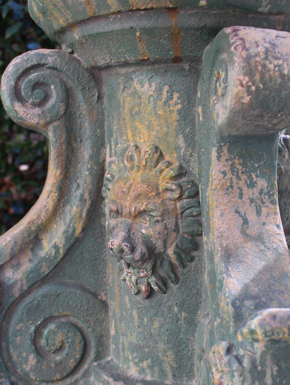 Lion Face Garden Pedestal for Statues Flowers Antique Replica Cottage Chic