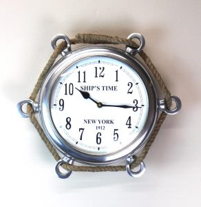 Porthole Mirror Wall Clock Silver Polished Aluminum with Ships Rope 1912 Time