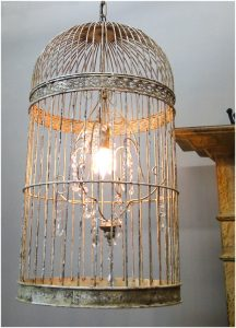 Big Crystal & Iron Birdcage Chandelier with Antique Finish and Lead Glass Light