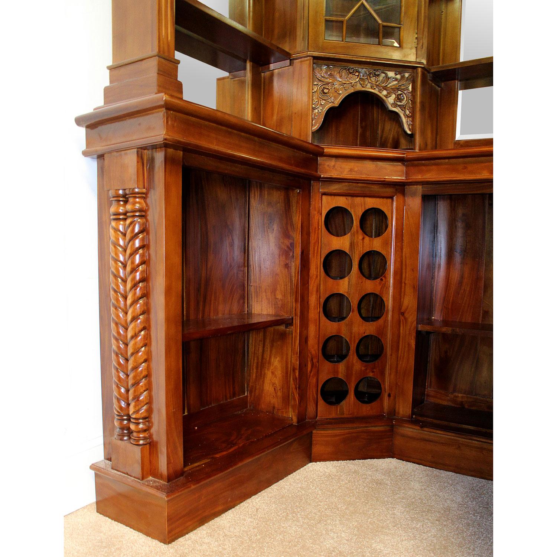 Home Bar Furniture Product: Solid Mahogany Corner Home Bar Furniture With Tiffany