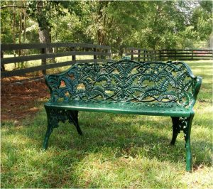 Garden Street GREEN Bench with Fern Floral Design Non Rust Architectural Seat