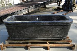 Solid Black Marble Chateau Bath Tub, Hand Crafted in The Kings Bay Factory, Antique Replica