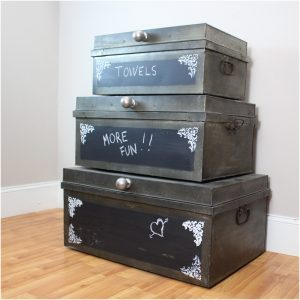 Metal Factory Nesting Boxes SET 3pcs Trunks Iron Hand Made Old Chalk Board Surface