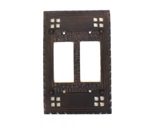 Arts and Crafts - Mission Oil Rubbed Bronze - Brass Double Rocker Switch Plate