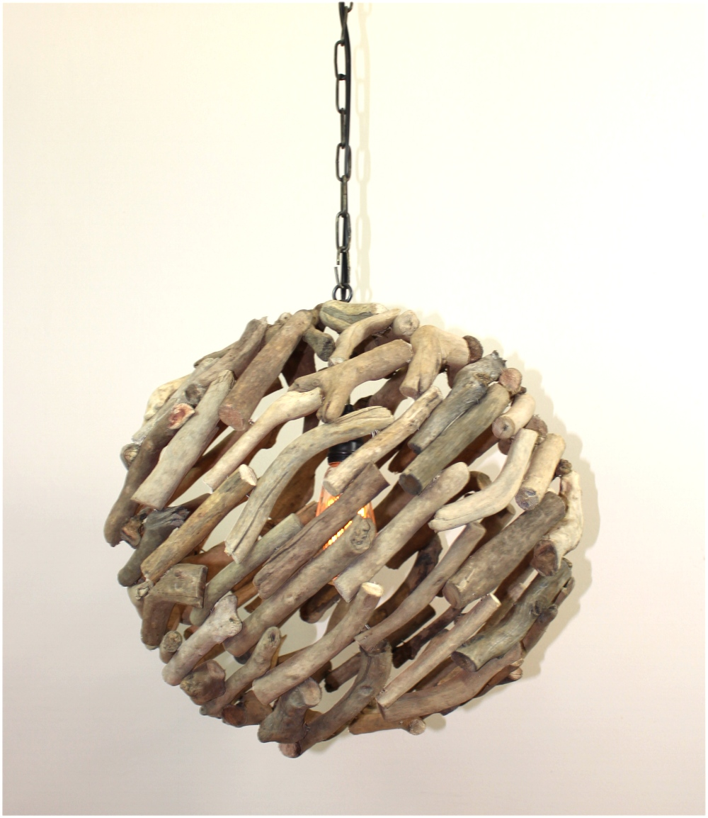 Big Driftwood Ball Pendant Chandelier Ceiling Mounted