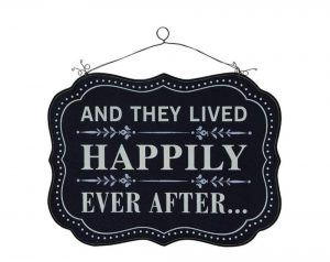 Happily Ever After Wedding Love Gift Sign Mdf Wood Old Fashioned