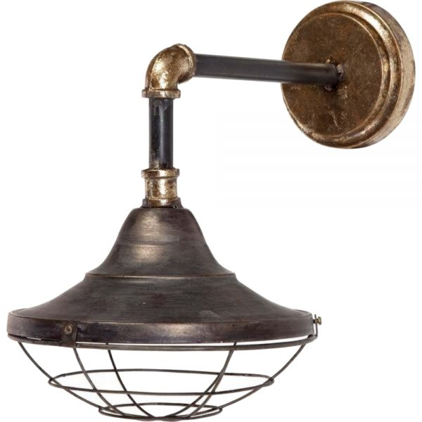 Subway Wall Sconce Light Fixture Iron Brass Steel With Cage Base Industrial