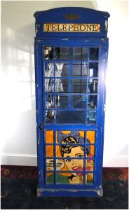 Blue British Phone Booth Wine Liquor Cabinet with Retro Artwork