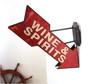 Arrow Trade Sign Wall Mount Wine and Spirits Home Bar Man Cave Retro Style