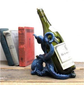 Octopus Shiny Blue Wine Bottle Display Holder Nautical Decor