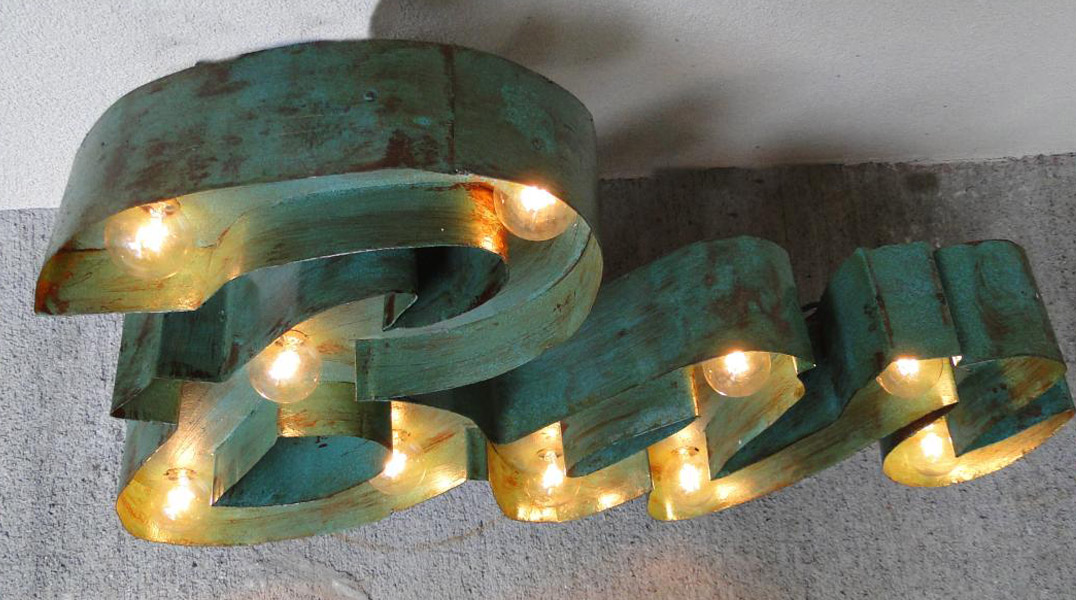 Antique Style Retro Bar Lighted Sign Painted on Tin Old Script Advertising - Wall Art