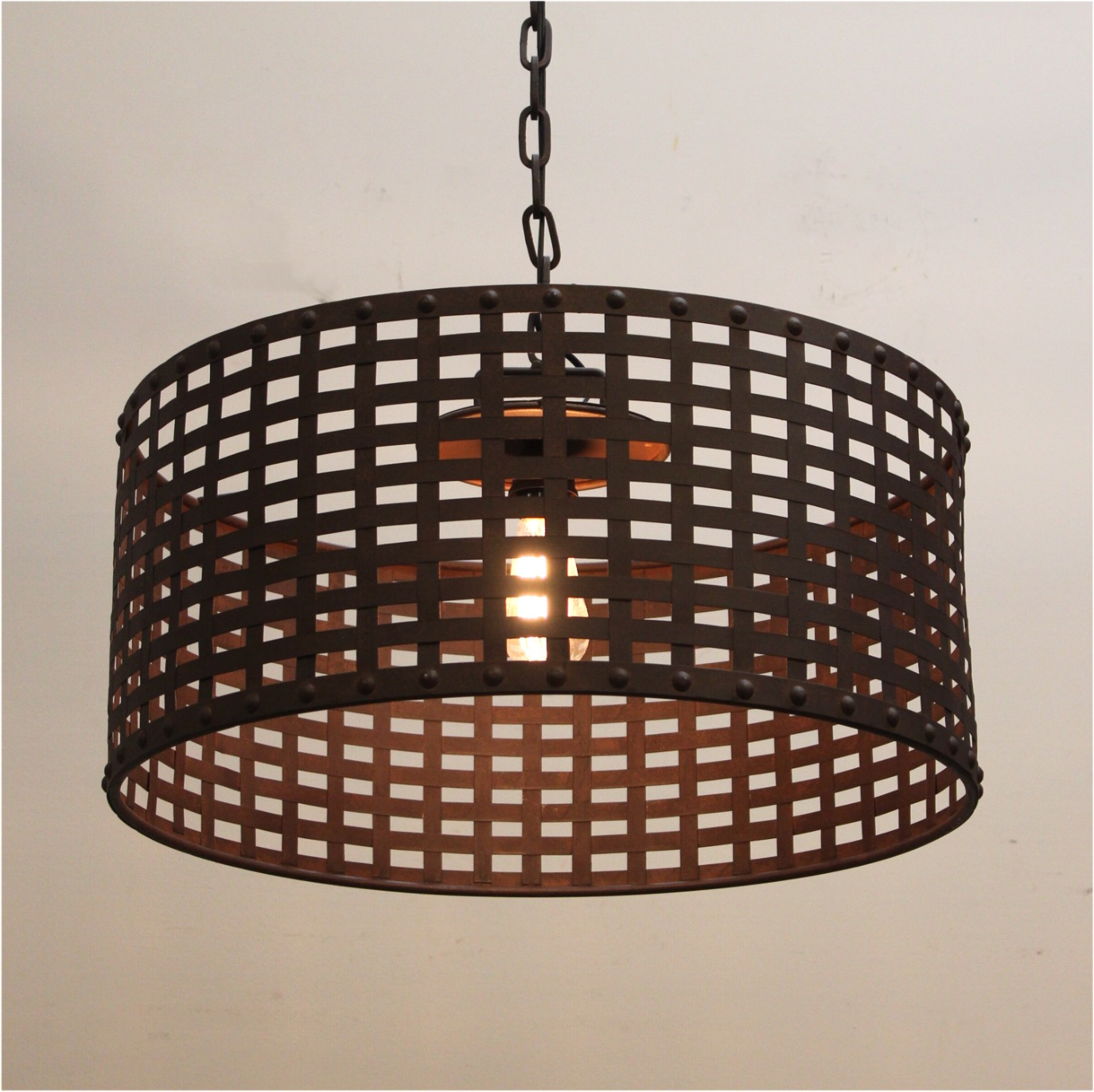 Woven Iron and Rivets Large Pendant Chandelier Modern or Gothic ...