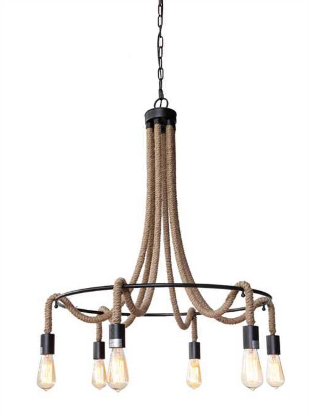 Iron and Rope Tear Drop Big Chandelier Bronze Handing Chain Light Fixture 1