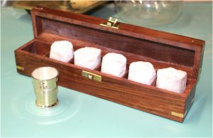 Shot Glass Set Nautical Anchor with Brass Cups and Wooden Box