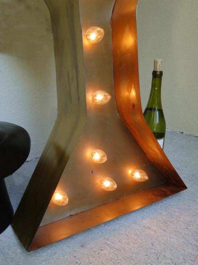 Retro Vintage Style Tin Marquis LIGHTED MARTINI SIGN Cosmopolitan Glass Shape