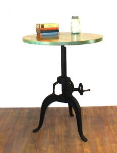 "Hand Made Iron Round Crank Handle Vintage Side Table Old Style 30"" Diameter Wood Top"