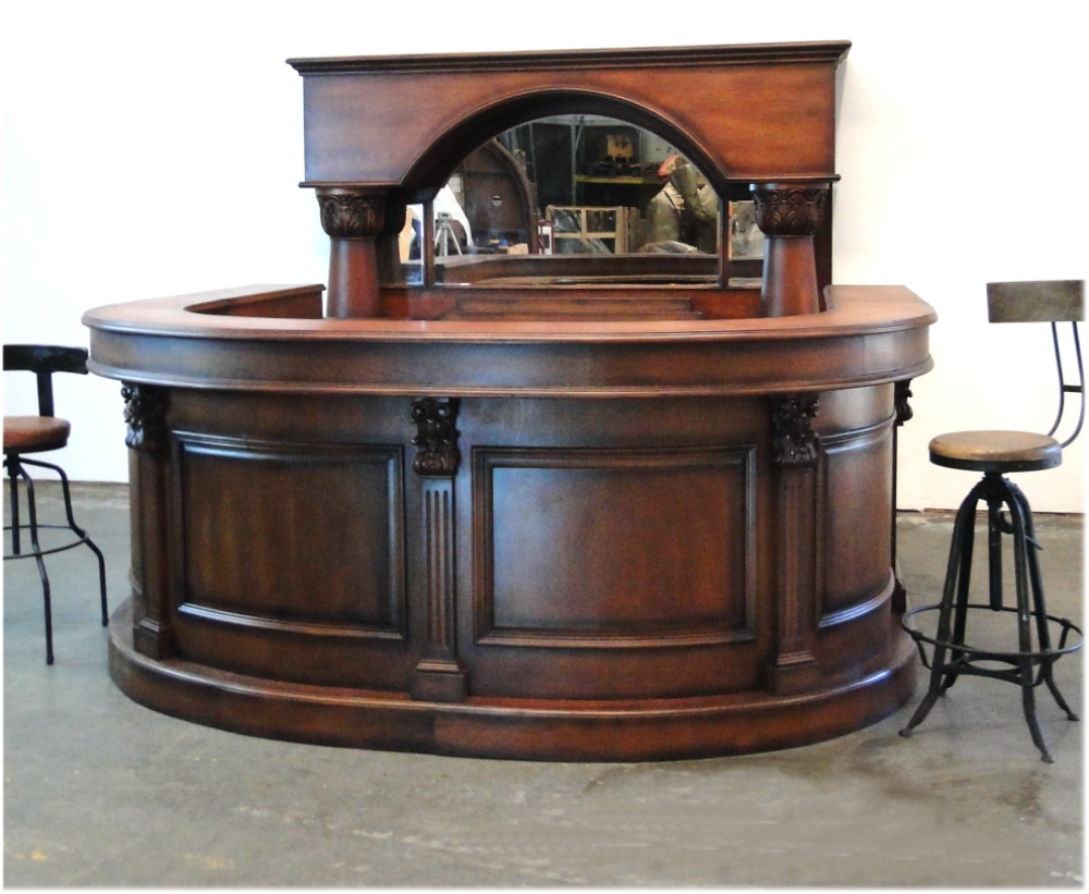 Horseshoe Front and Back Pub Bar Furniture with Wine Rack Mirror Antique  Replica - Horseshoe Front And Back Pub Bar Furniture With Wine Rack Mirror