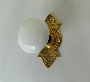 Victorian Reproduction Door Hardware Passage The ROANOKE with White Porcelain Knobs