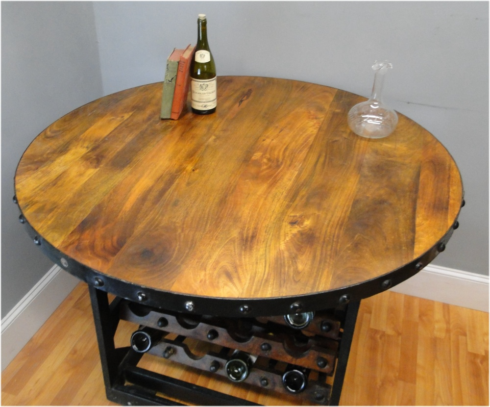 Round Wood & Iron Factory Wine Rack Table with Rolling Cart Wheels, Vintage Style