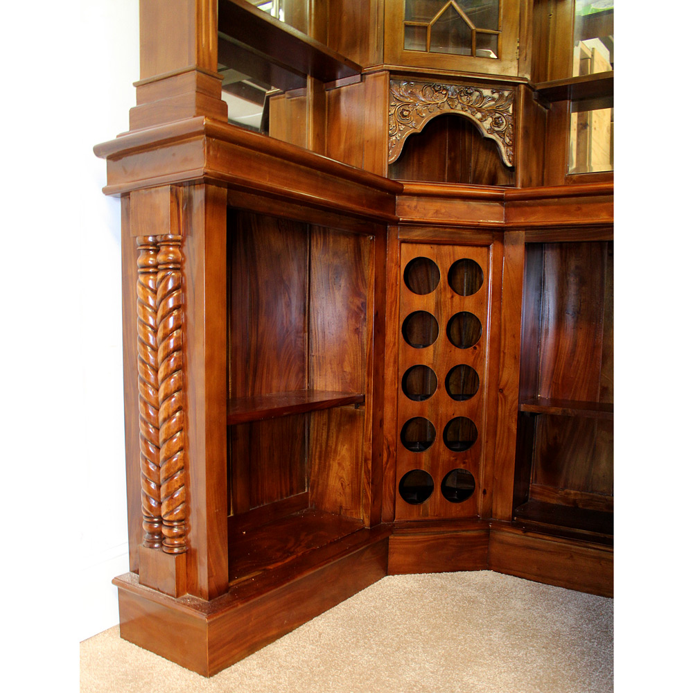 Solid Mahogany Corner Home Bar Furniture With Tiffany Glass Canopy Antique Replica 7 The Kings Bay