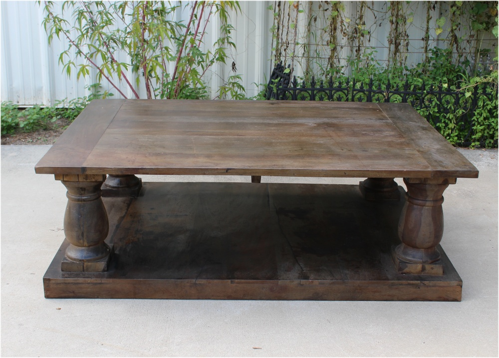 Antique Replica Solid Wood Coffee Table W Pillars Aged
