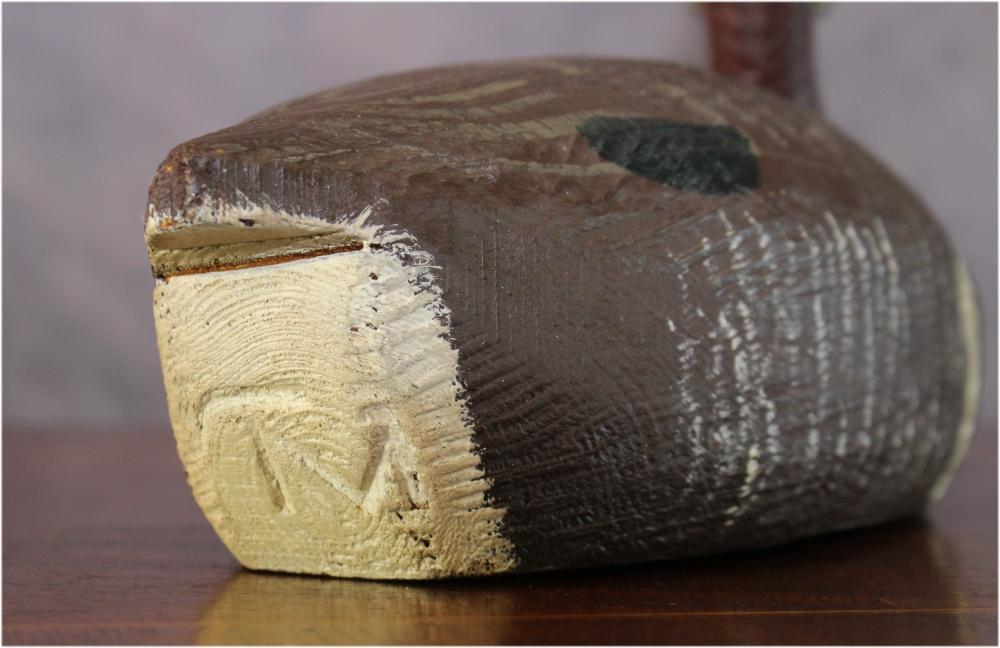 Old Hand Carved & Signed Duck Decoy TM, Tom Martindale