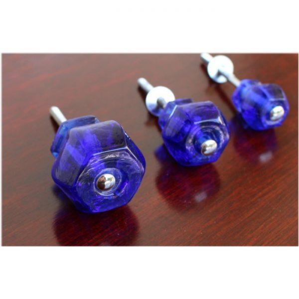 """1.25"""" Cobalt BLUE Glass Cabinet Knobs Pulls Vintage Dresser Drawer Hardware 25 pcs"""