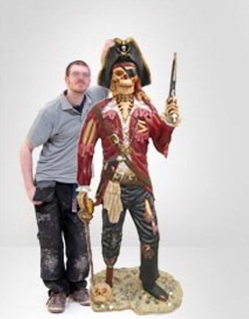 Life Size PIRATE SKELETON STATUE Undead Caribbean Old Style Sculpture Gun Sword