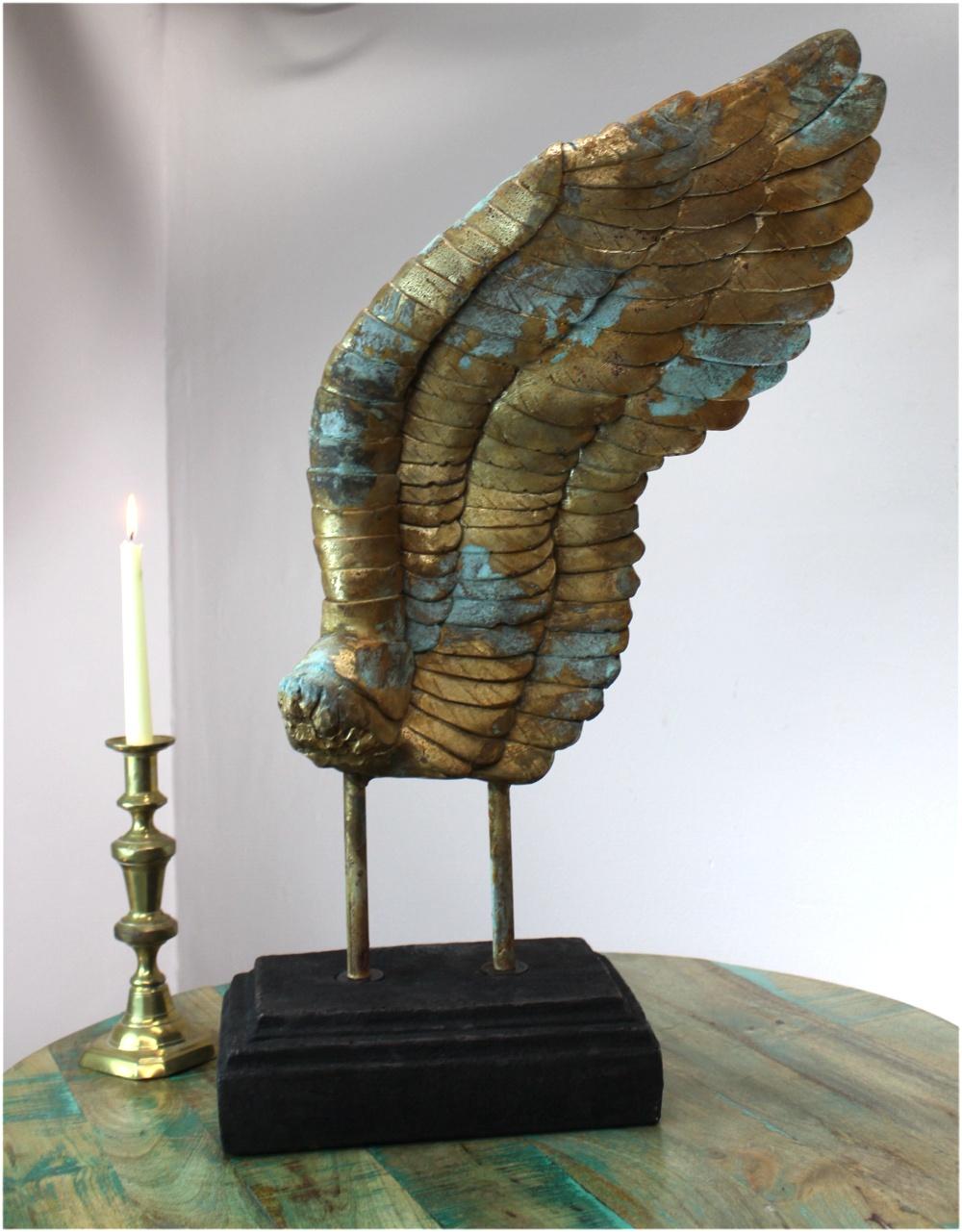 Eagle Angel Cherub Big Gold Leaf Wing Sculpture Art Hand Made