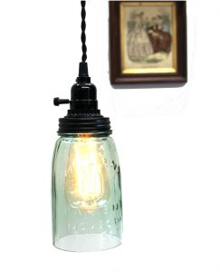 Antique Mason Jar Pendant Ceiling Mounted Glass Light Fixture Green Aged Finish Wired