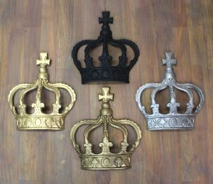 "King CROWN or Queen Prince Wall Art Princess Metal England "" Choose Color After Buying """
