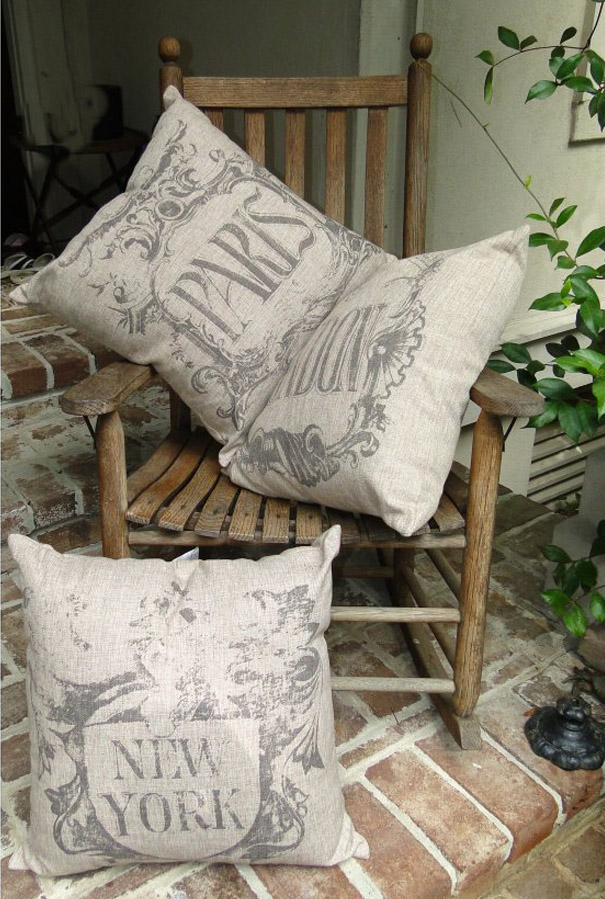 Big New York Pillow, Vintage Style, Antique Letters, for City or Cottage Chic Decor