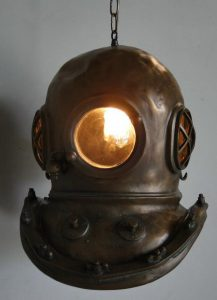Antique Bronze Finish Mark V Diver's Helmet Pendant Chandelier Old Style Brass