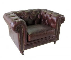 "Tufted Real Leather Airman's Club Chair with Wheels High Design, The ""Wexford"""