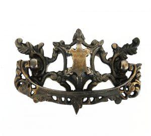 Old Cabinet Hardware CHIPPENDALE REPLICA Dresser Pull Solid Brass Oak Vintage Dark Bronze