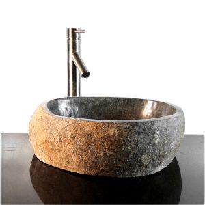 Riverstone Granite Boulder Vessel Sink Counter Top Bathroom Bar wbt14