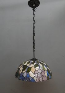 Hanging Stained Glass Flower Shade and Lamp circa 1970 True Vintage