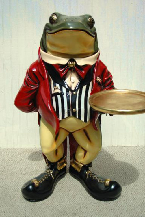 2 Frog Tuxedo Waiter Statue W Serving Display With Tray