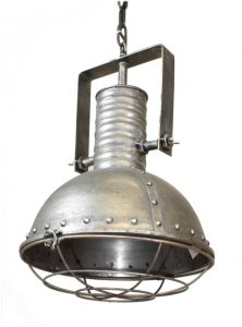 Industrial Pendant Factory Dock Light in Natural Steel Aged Silver w Rivets & Cage Cover