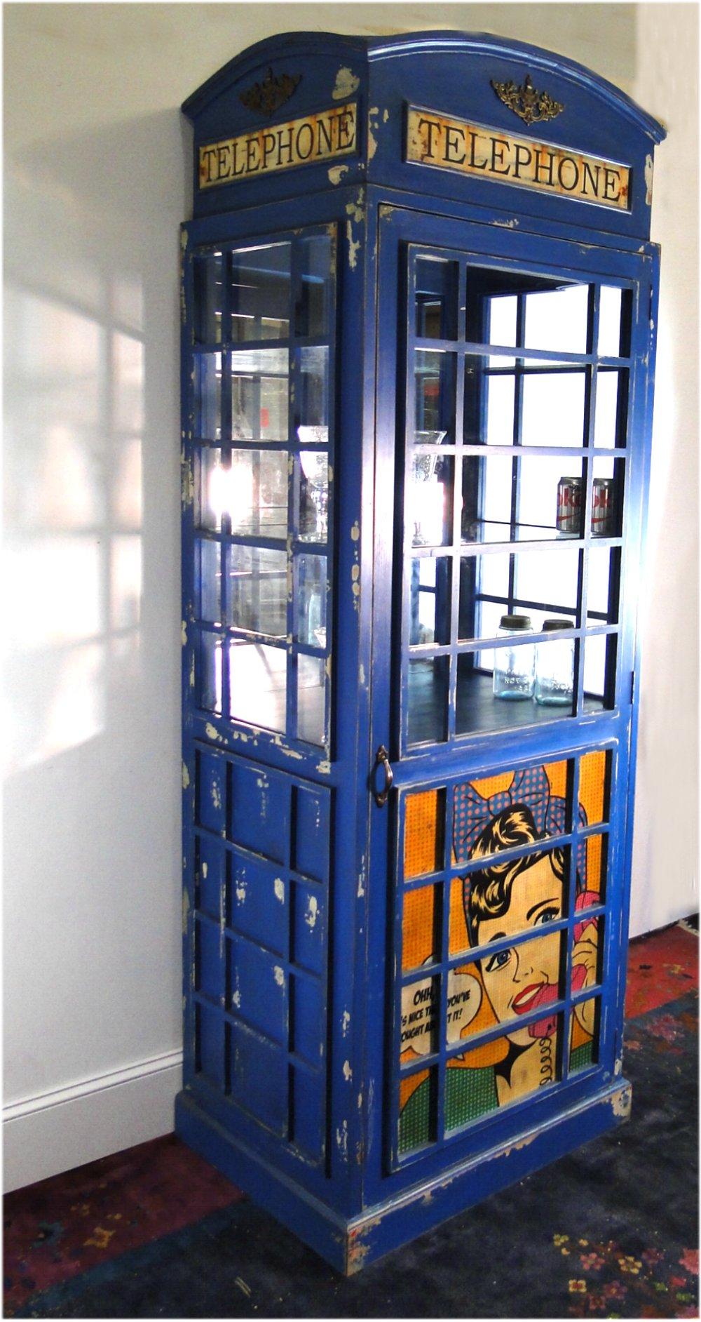 ... Blue British Phone Booth Wine Liquor Cabinet With Retro Artwork ...