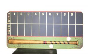 Wrigley Field Style Chalk Board Score Keepers Wall Sign w Ball and Bat